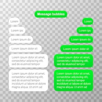 Message bubbles design template for messenger chat