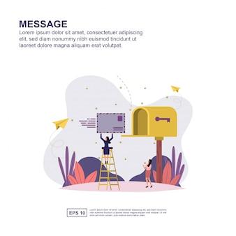 Message concept flat design for presentation.