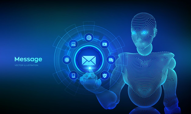 Message email mail communication online illustration with cyborg hand touching digital interface