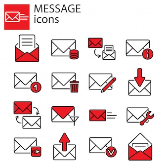 Message email with envelopes icon set