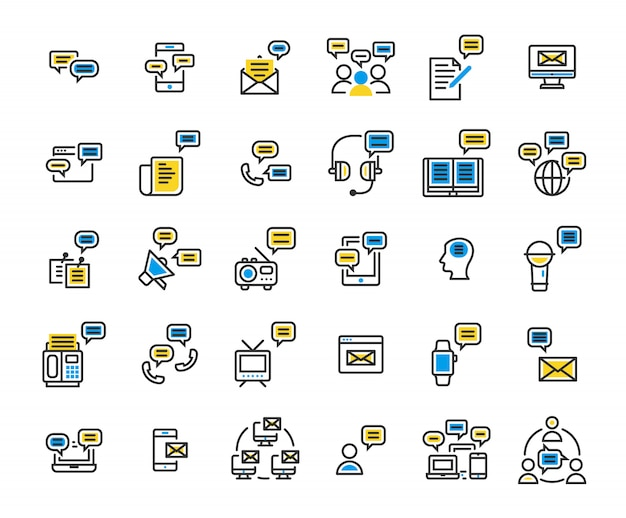 Message filled outline icon set.