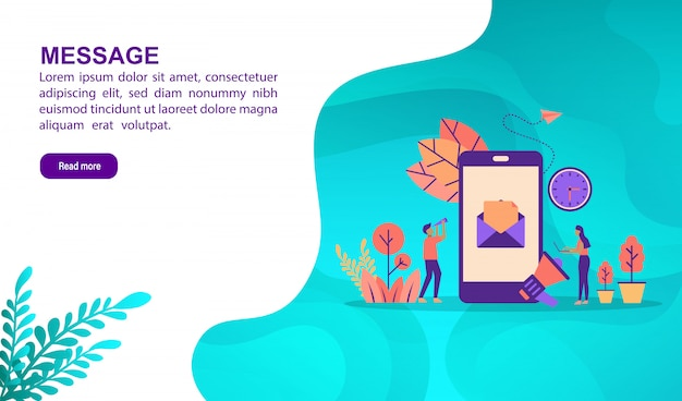 Message illustration concept with character. landing page template