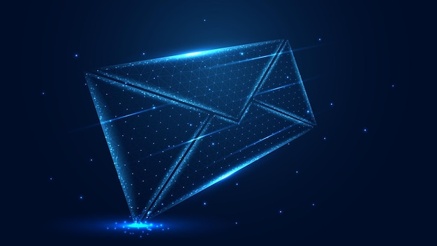 Message mail line connection. low poly design. abstract geometric background. vector illustration.