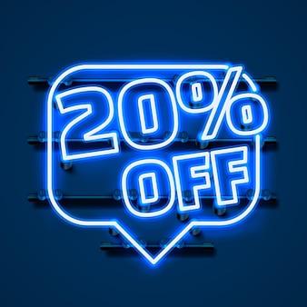 Сообщение neon 20 от текстового баннера. ночной знак. векторная иллюстрация