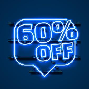 Сообщение neon 60 от текстового баннера. ночной знак. векторная иллюстрация