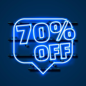 Сообщение neon 70 с текстового баннера. ночной знак. векторная иллюстрация