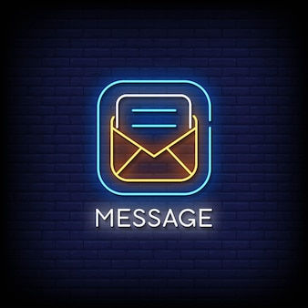 Message neon signs style text vector
