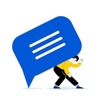 メッセージ通知。女性はメッセージのサインを持っています。ダイアログアイコン。対話の概念