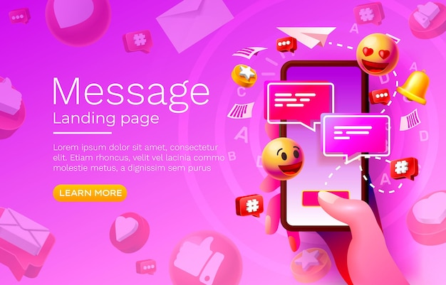 많은 아이콘이 있는 메시지 방문 페이지 벡터의 커뮤니케이션을 위한 채팅