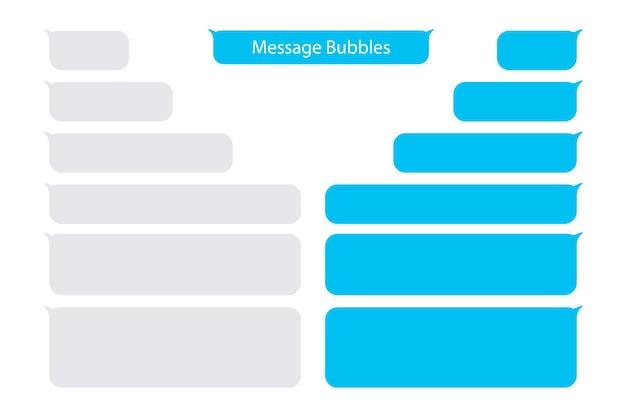 Сообщения пузыри. шаблон дизайна вектора коробок чата пузырей сообщения. поместите свой собственный текст в облака сообщений. составленные диалоги с использованием образцов пузырей