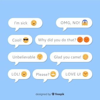 Messages expression with emoji concept