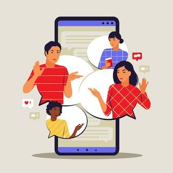 Концепция приложения для обмена сообщениями. общение и обмен сообщениями на смартфоне. пузыри с короткими сообщениями. векторная иллюстрация. плоский.