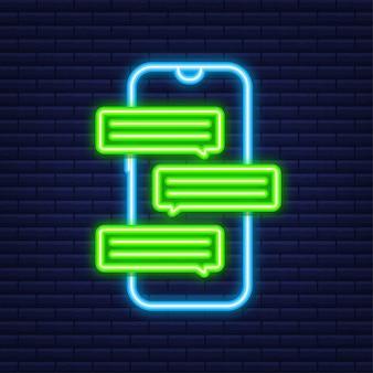 Концепция обмена сообщениями. рука смартфон с людьми в чате. текстовые пузыри чата на экране телефона. неоновая иконка. векторная иллюстрация.