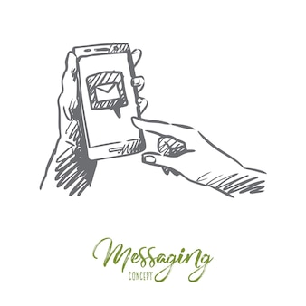 Messaging, mail, smartphone, connect, internet concept. hand drawn smartphone in human hands with symbol of mail sent concept sketch.