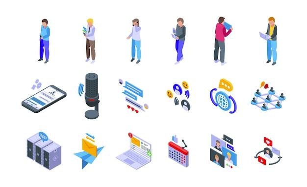 Набор иконок сети обмена сообщениями. изометрические набор векторных иконок сети обмена сообщениями для веб-дизайна, изолированные на белом фоне