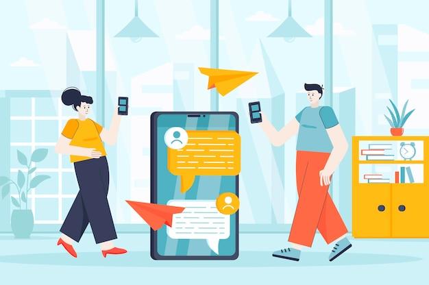ランディングページの人々のキャラクターのフラットなデザインイラストのメッセージングサービスの概念