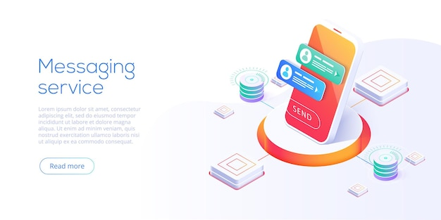 Messaging service concept in isometric illustration