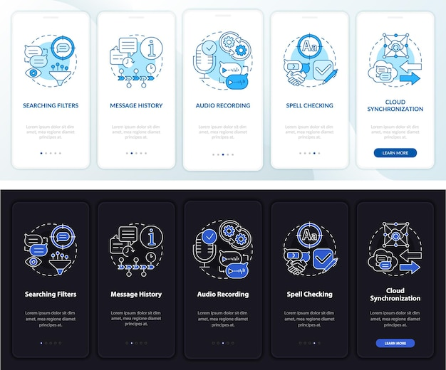 메시징 서비스 전문가 온보딩 모바일 앱 페이지 화면. 채팅 기록 연습은 개념이 포함된 5단계 그래픽 지침입니다. 선형 야간 및 주간 모드 일러스트레이션이 있는 ui, ux, gui 벡터 템플릿