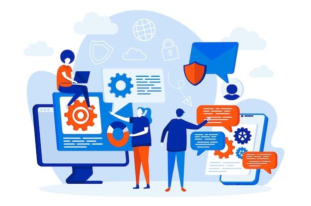 사람들이 문자 일러스트와 함께 메시징 서비스 웹 디자인 컨셉