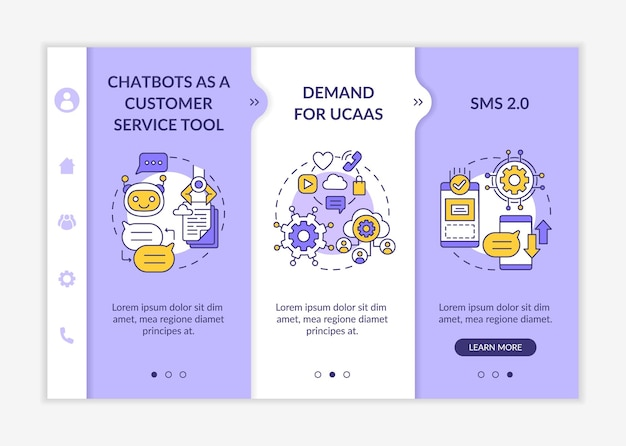 Messaging software onboarding vector template. responsive mobile website with icons. web page walkthrough 3 step screens. software for texting color concept with linear illustrations