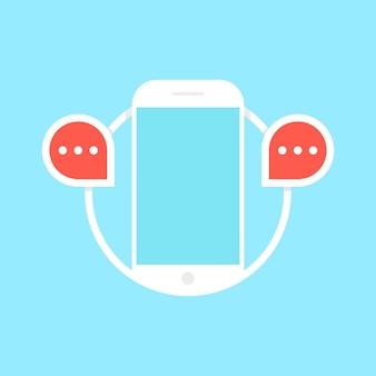 Обмен сообщениями с белым телефоном. концепция использования гаджетов, смс, пользовательского интерфейса, электронной коммерции, отправки почты, контактов, отображения, покупок в интернете. плоский стиль тенденции современный логотип дизайн векторные иллюстрации на синем фоне