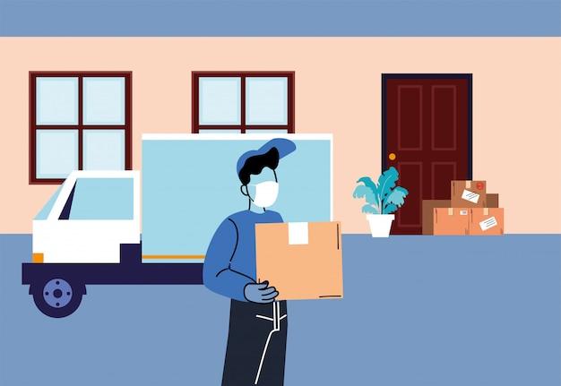 セキュリティプロトコルを備えた、市内を通る荷物を運ぶメッセンジャーとトラック