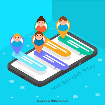 Messenger application to chat in isometric style Free Vector