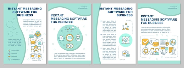 Messenger for business brochure template. online mail. flyer, booklet, leaflet print, cover design with linear icons. vector layouts for presentation, annual report, advertisement pages