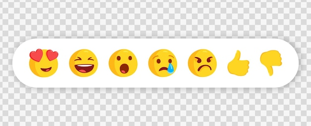 Messenger chat emoticons in white frame or collection of emoji reactions for social media