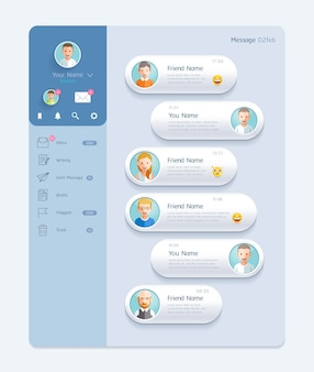 Интерфейс чата messenger с фоном диалогового окна концепция дизайна мобильного пользовательского интерфейса