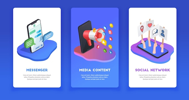 Messenger, media content and social network isometric illustration