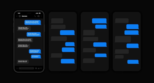 어두운 인터페이스의 메신저 ui 및 ux 개념. 회전 목마 스타일 메신저 채팅 화면이있는 스마트 폰. 작성 대화를위한 sms 템플릿 거품. .