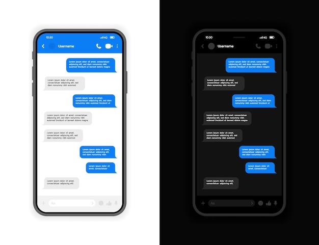 밝고 어두운 모드 인터페이스를 갖춘 메신저 ui 및 ux 개념. 메신저 채팅 화면이있는 스마트 폰. .