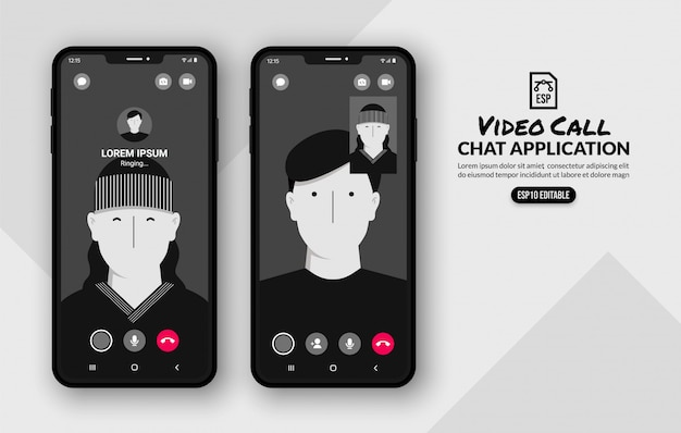 Messenger videos call template, social media communication