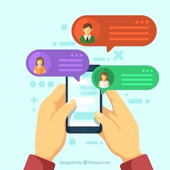 Приложение messenger в плоском стиле