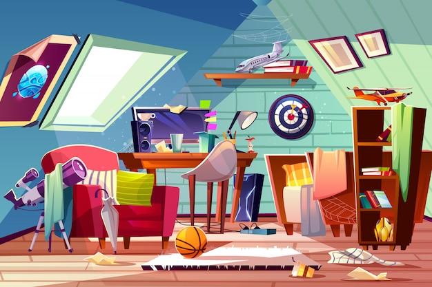 Грязный чердак, интерьер детской комнаты с открытой кроватью, беспорядком на столе, разбросанной одеждой и игрушками
