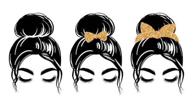 Грязный пучок с банданой с золотым блеском или повязкой на голову и бантом для волос.