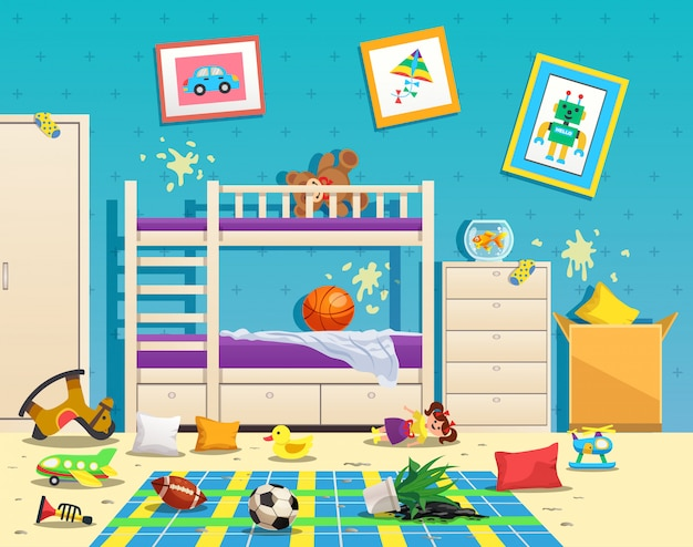Messy children room interior with dirty stains on wall and scattered toys on floor flat