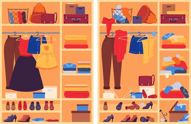 옷장에 지저분한 옷. 지저분하고 조직화된 신발과 액세서리가 있는 개방형 옷장, 조직 전후의 휴대품 보관소, 벡터 개념. 옷장 옷과 지저분한 옷장 일러스트