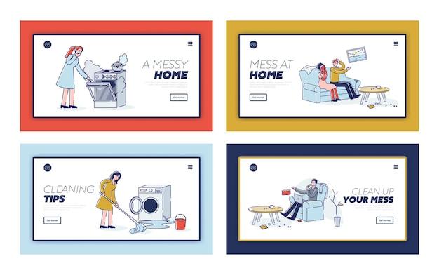 청소 및 가사 개념에 대한 지저분한 가정 및 깨진 기기 세트