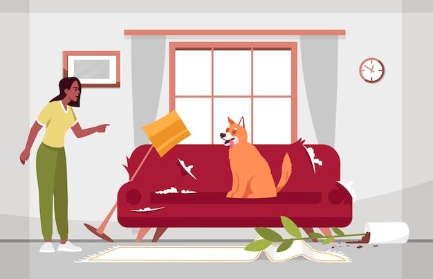 Грязная гостиная и полу иллюстрация непослушной собаки