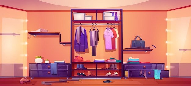 흩어져있는 남성과 여성의 옷 신발과 옷장 만화 일러스트의 accessorie와 지저분한 워크 인 옷장 드레싱 룸 인테리어