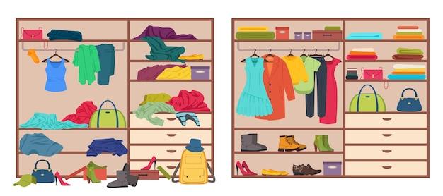 옷을 정리하고 흩어져 있는 의상 벡터를 정리하기 전과 후에 지저분한 옷장 열린 옷장