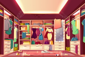 Messy woman's walk-in closet, dressing room interior cartoon with scattered clothing