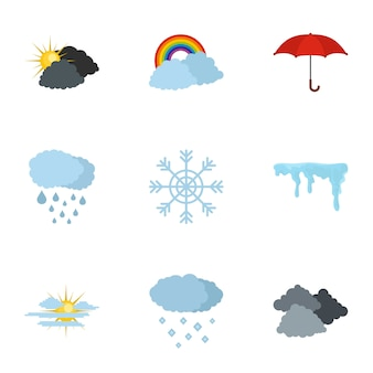 Met office icons set, flat style