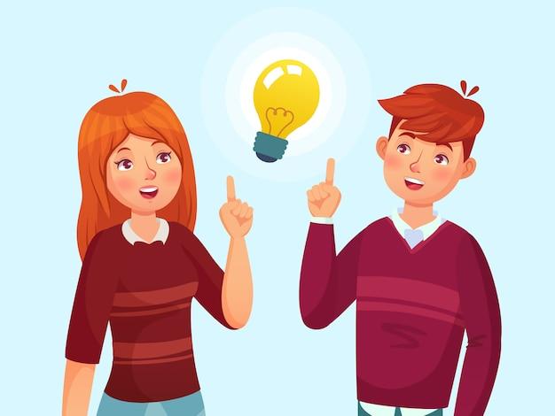 若者にはアイデアがあります。解決策、ティーンエイジャーのアイデアランプ電球隠metaと十代の漫画イラストを持っている学生カップル