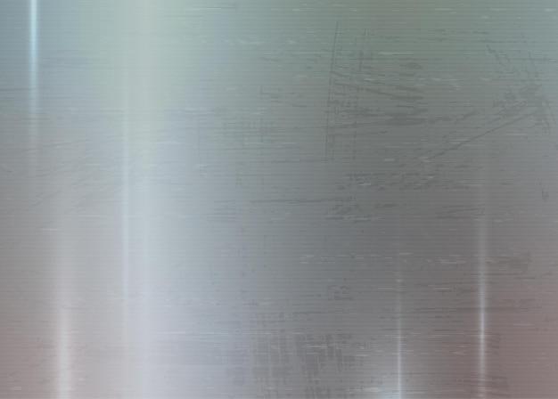金属の抽象的なテクスチャの背景ブラシをかけられた磨かれたクロム銀鋼アルミニウムプレート