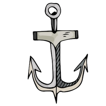 Metal anchor on an isolated white background sea