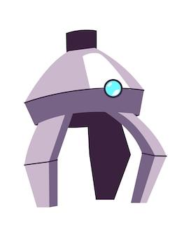 Braccio in metallo per manipolazione, parte di un robot o di una macchina industriale, illustrazione di cartone animato