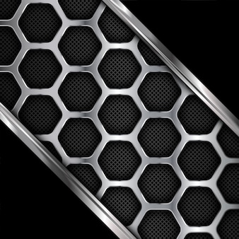 Metal background. geometric pattern of hexagons.